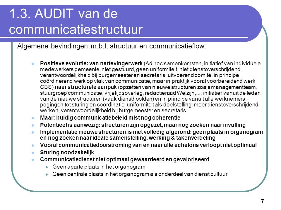 1.3. AUDIT van de communicatiestructuur