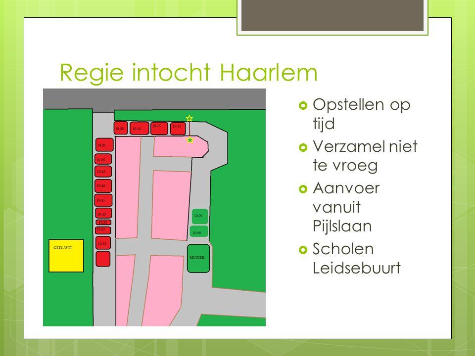 Regie intocht Haarlem Opstellen op tijd Verzamel niet te vroeg