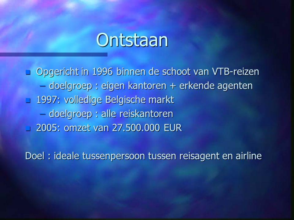 Ontstaan Opgericht in 1996 binnen de schoot van VTB-reizen