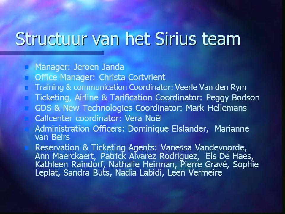 Structuur van het Sirius team