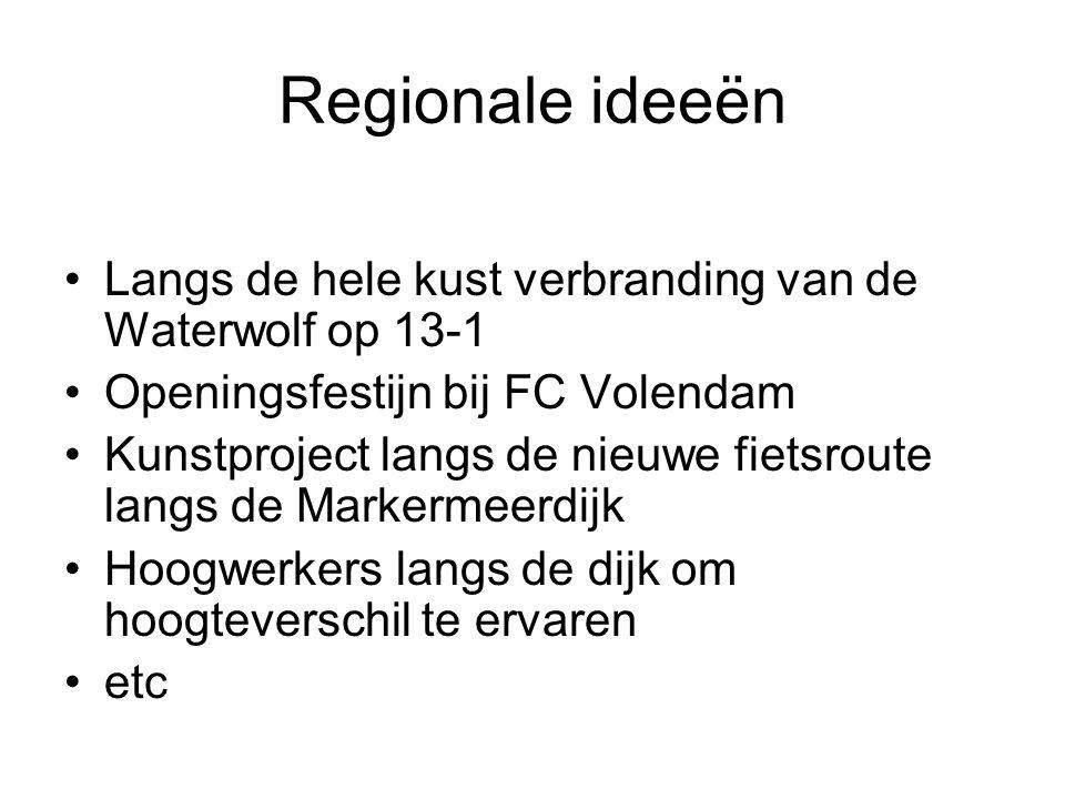 Regionale ideeën Langs de hele kust verbranding van de Waterwolf op 13-1. Openingsfestijn bij FC Volendam.