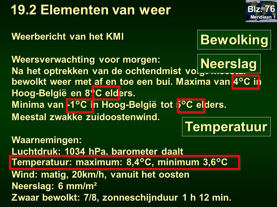 19.2 Elementen van weer Bewolking Neerslag Temperatuur