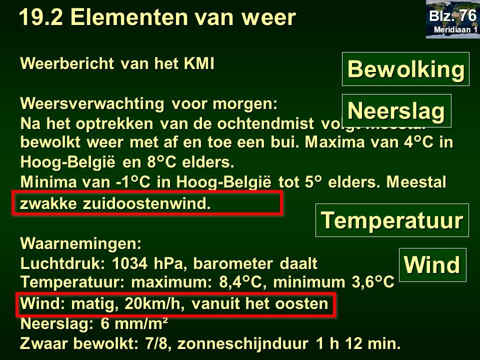 19.2 Elementen van weer Bewolking Neerslag Temperatuur Wind
