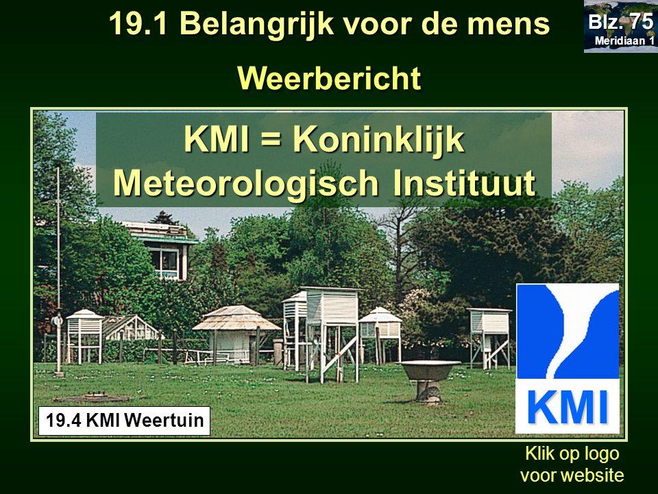 19.1 Belangrijk voor de mens Meteorologisch Instituut