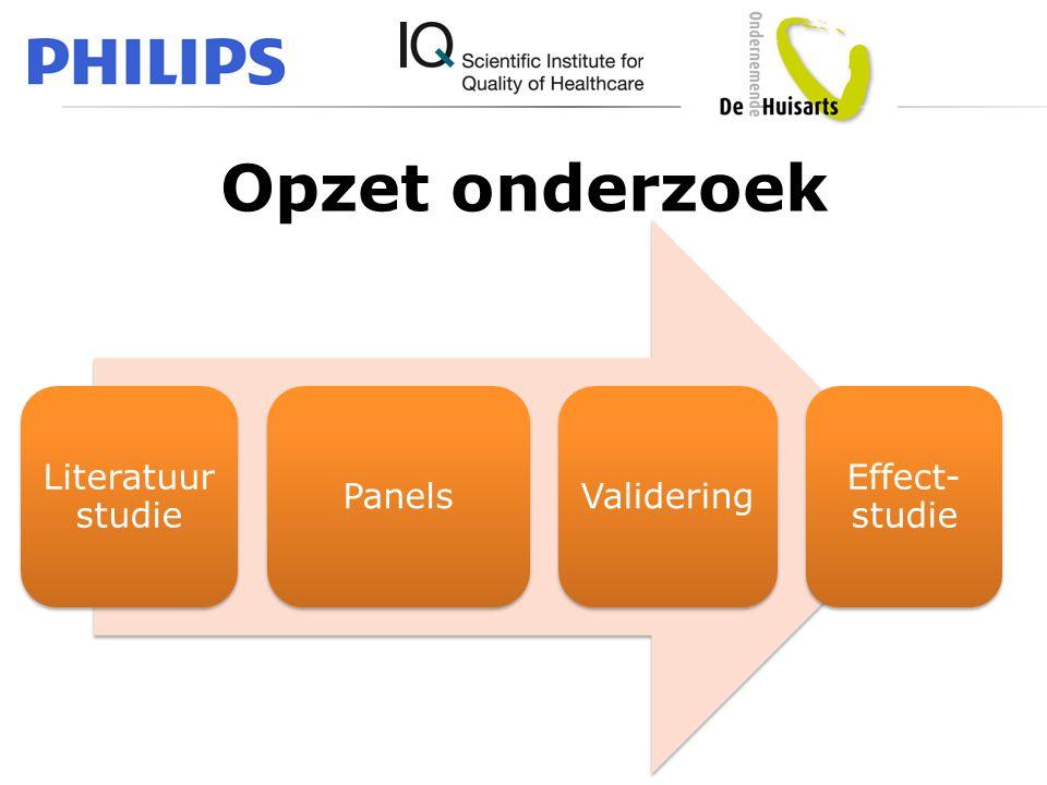 Opzet onderzoek Literatuurstudie Panels Validering Effect-studie