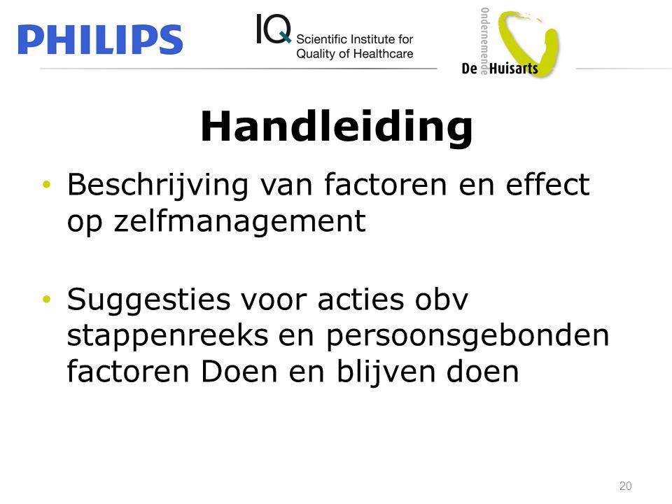Handleiding Beschrijving van factoren en effect op zelfmanagement