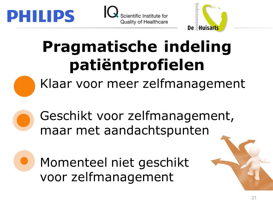 Pragmatische indeling patiëntprofielen