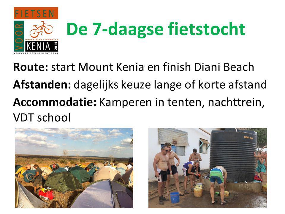 De 7-daagse fietstocht Route: start Mount Kenia en finish Diani Beach