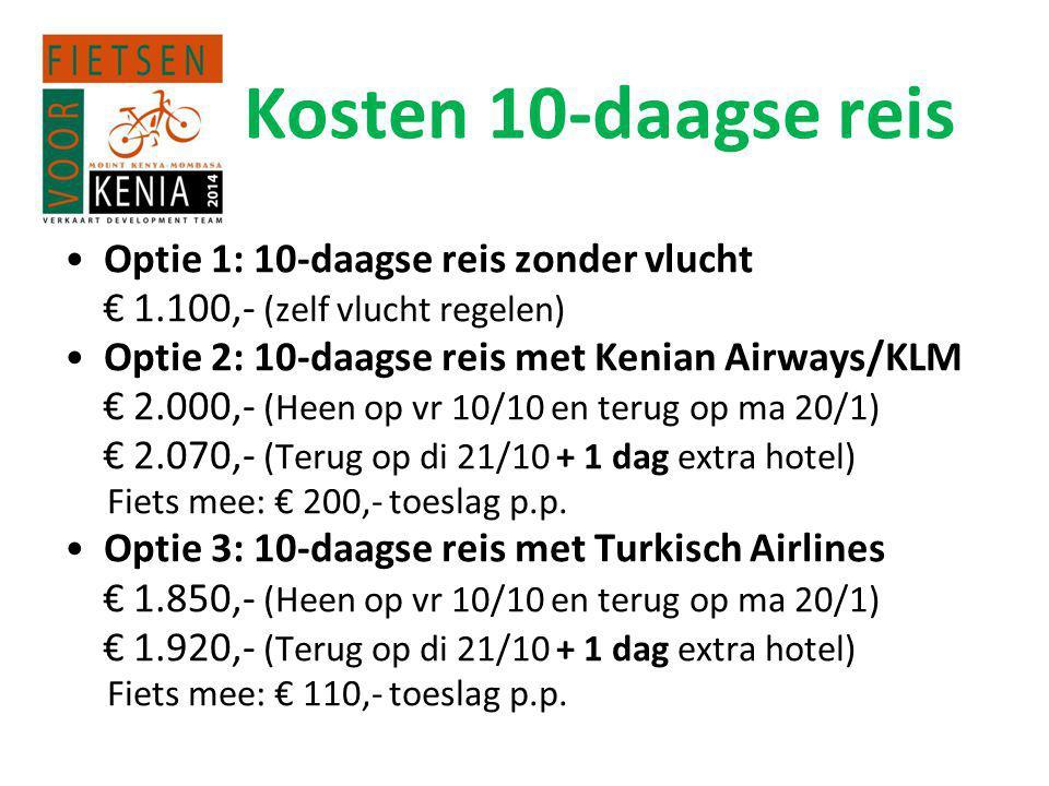 Kosten 10-daagse reis Optie 1: 10-daagse reis zonder vlucht