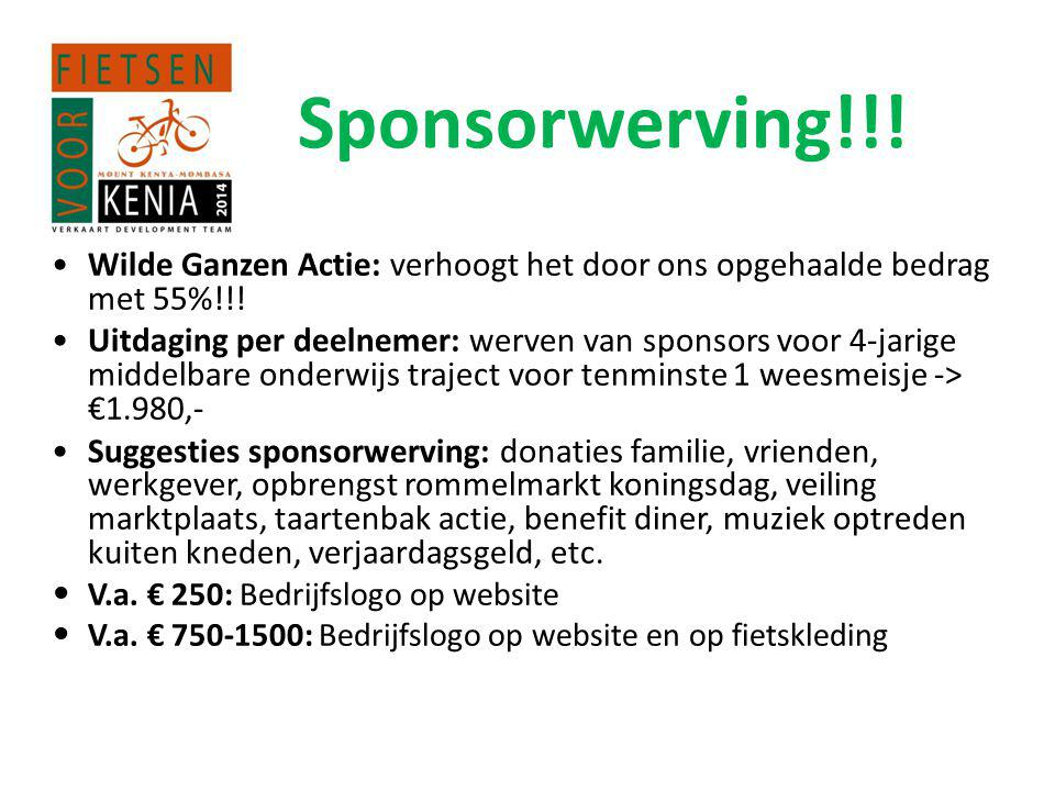Sponsorwerving!!! Wilde Ganzen Actie: verhoogt het door ons opgehaalde bedrag met 55%!!!
