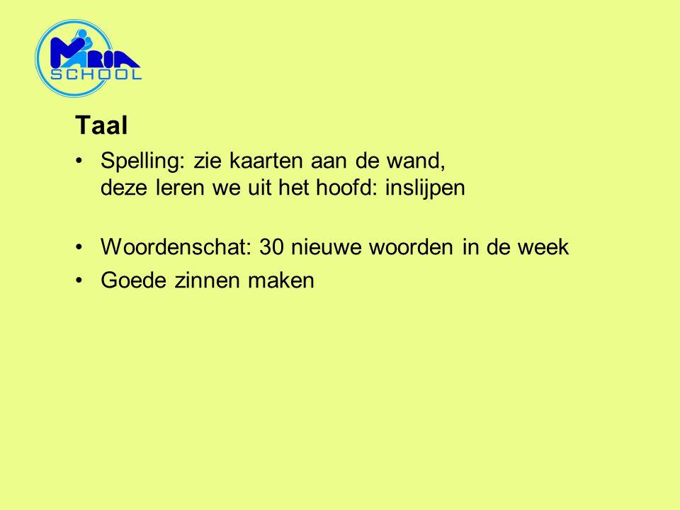 Taal Spelling: zie kaarten aan de wand, deze leren we uit het hoofd: inslijpen. Woordenschat: 30 nieuwe woorden in de week.