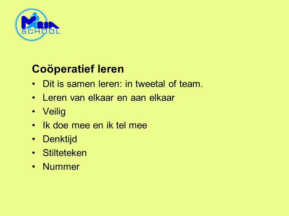Coöperatief leren Dit is samen leren: in tweetal of team.