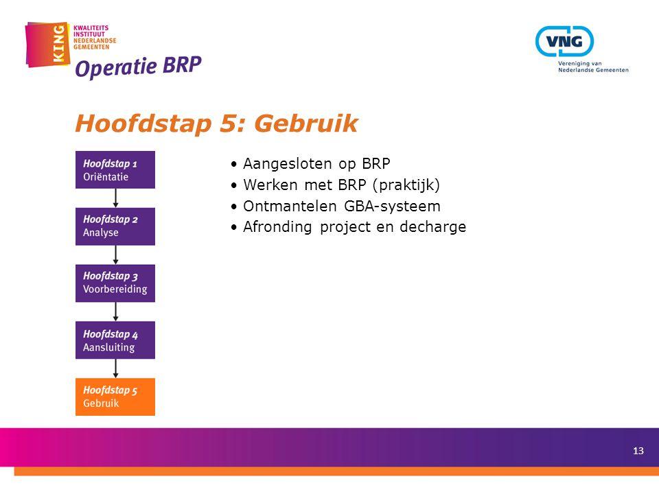 Hoofdstap 5: Gebruik Aangesloten op BRP Werken met BRP (praktijk)
