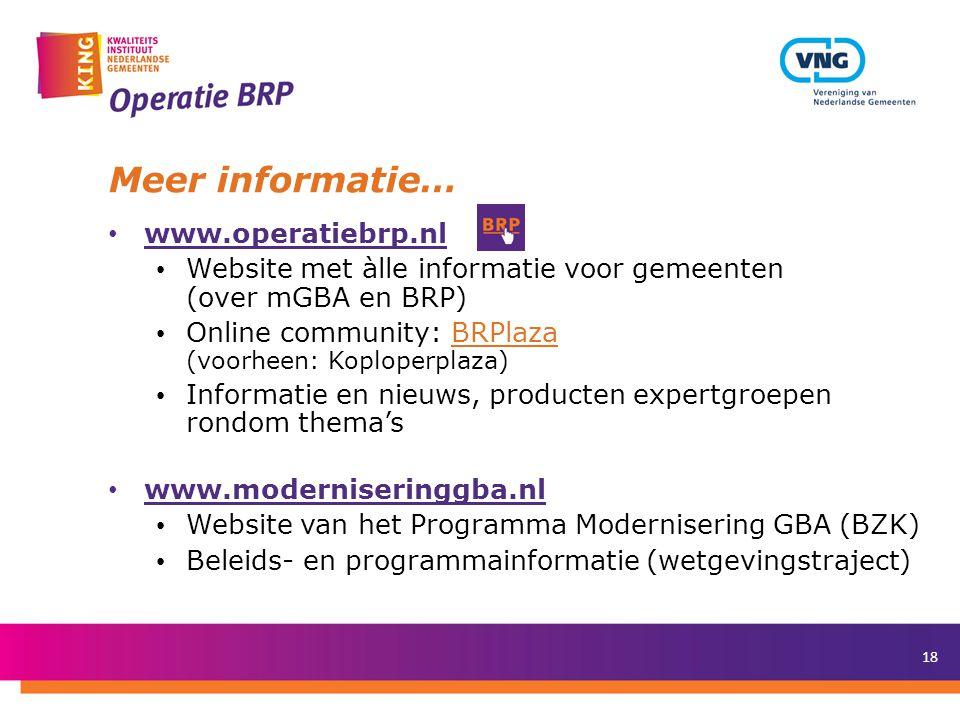 Meer informatie… www.operatiebrp.nl