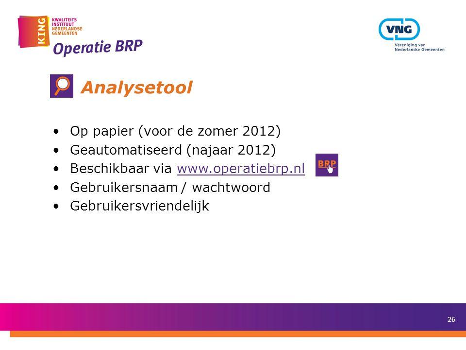 Analysetool Op papier (voor de zomer 2012)