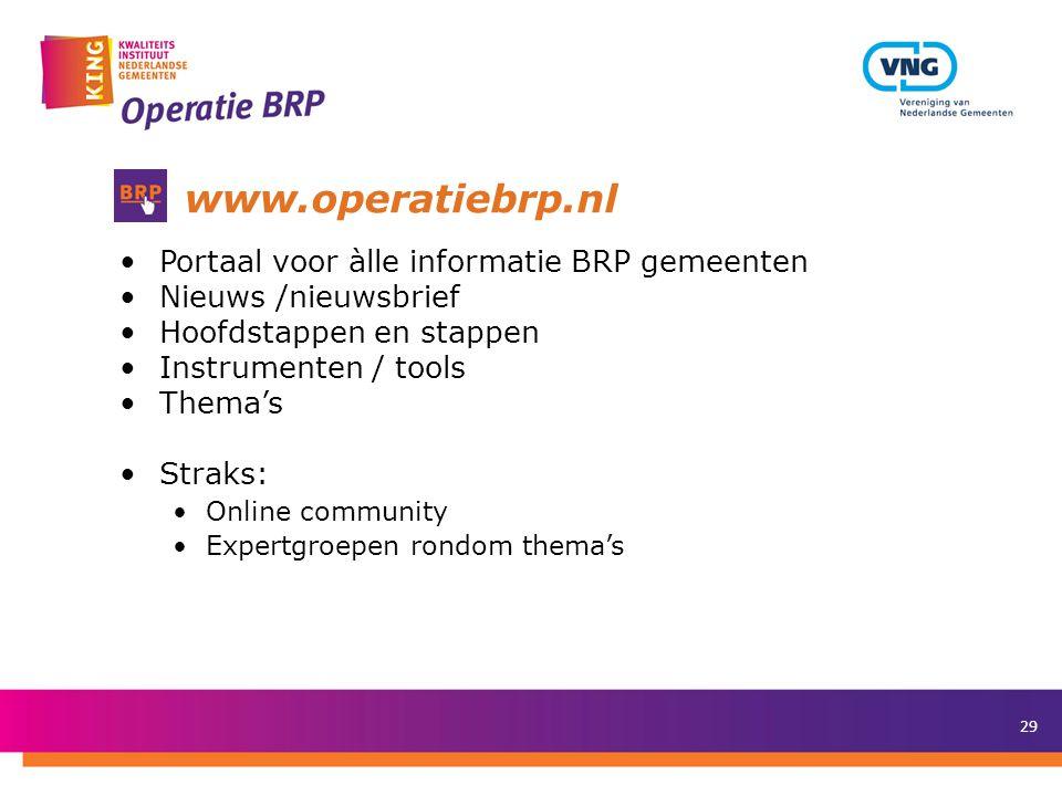 www.operatiebrp.nl Portaal voor àlle informatie BRP gemeenten