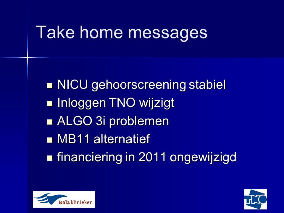 Take home messages NICU gehoorscreening stabiel Inloggen TNO wijzigt