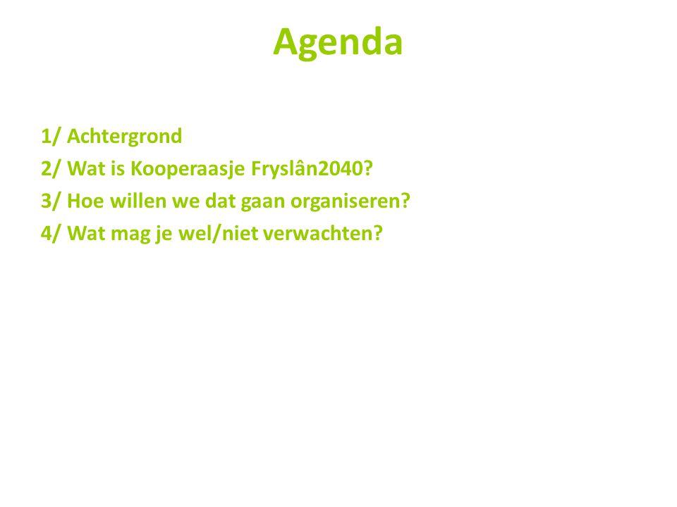 Agenda 1/ Achtergrond 2/ Wat is Kooperaasje Fryslân2040.