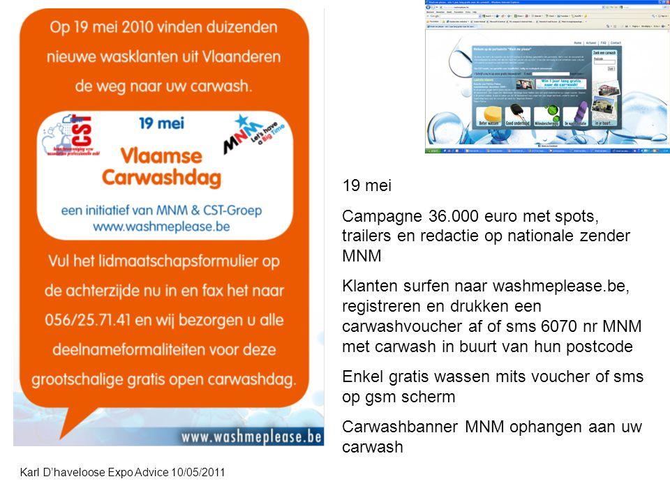 Enkel gratis wassen mits voucher of sms op gsm scherm