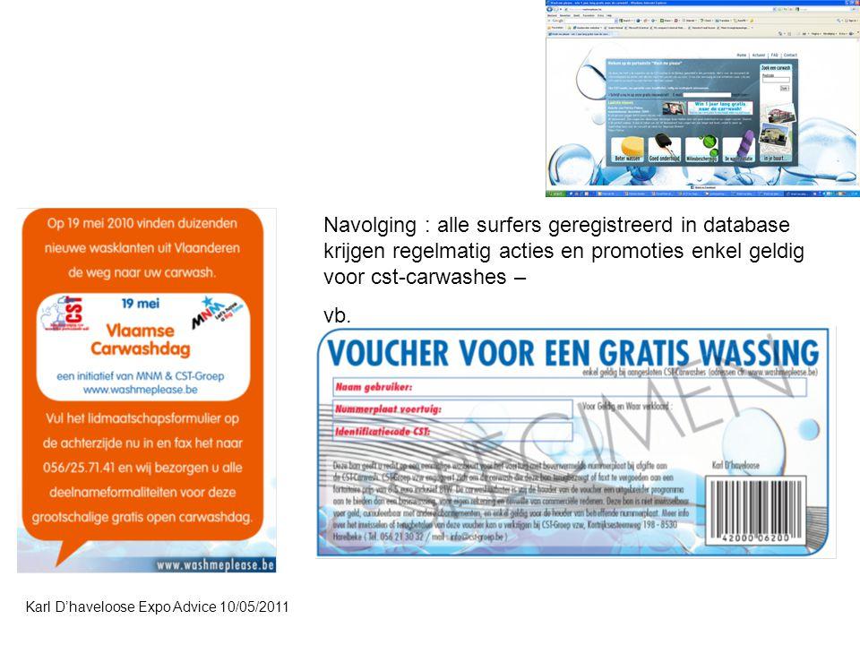 Navolging : alle surfers geregistreerd in database krijgen regelmatig acties en promoties enkel geldig voor cst-carwashes –
