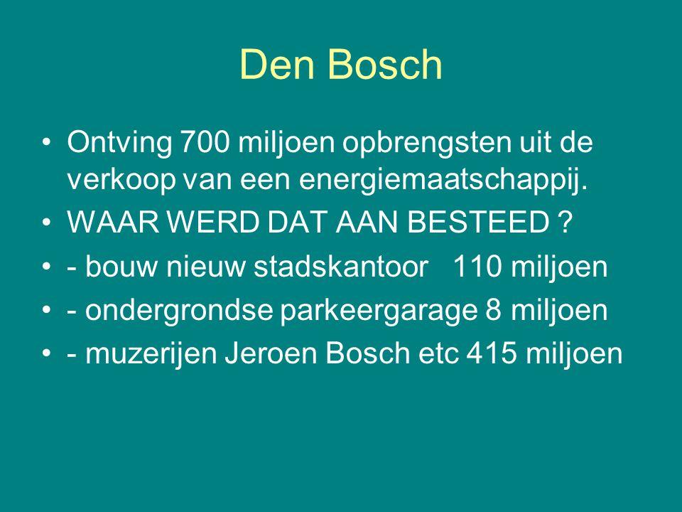 Den Bosch Ontving 700 miljoen opbrengsten uit de verkoop van een energiemaatschappij. WAAR WERD DAT AAN BESTEED