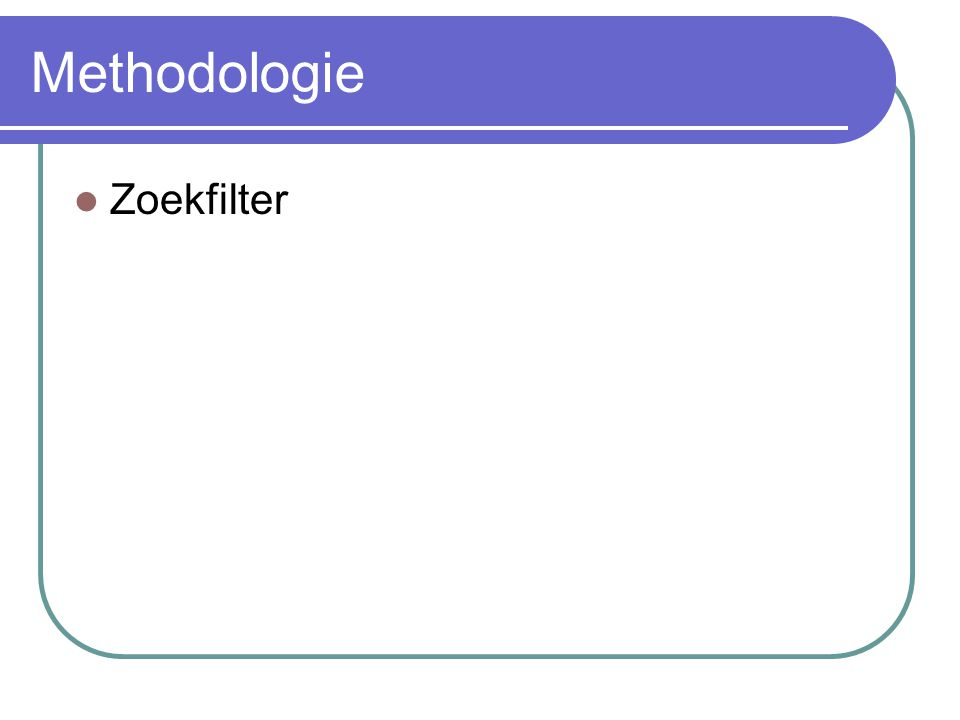 Methodologie Zoekfilter