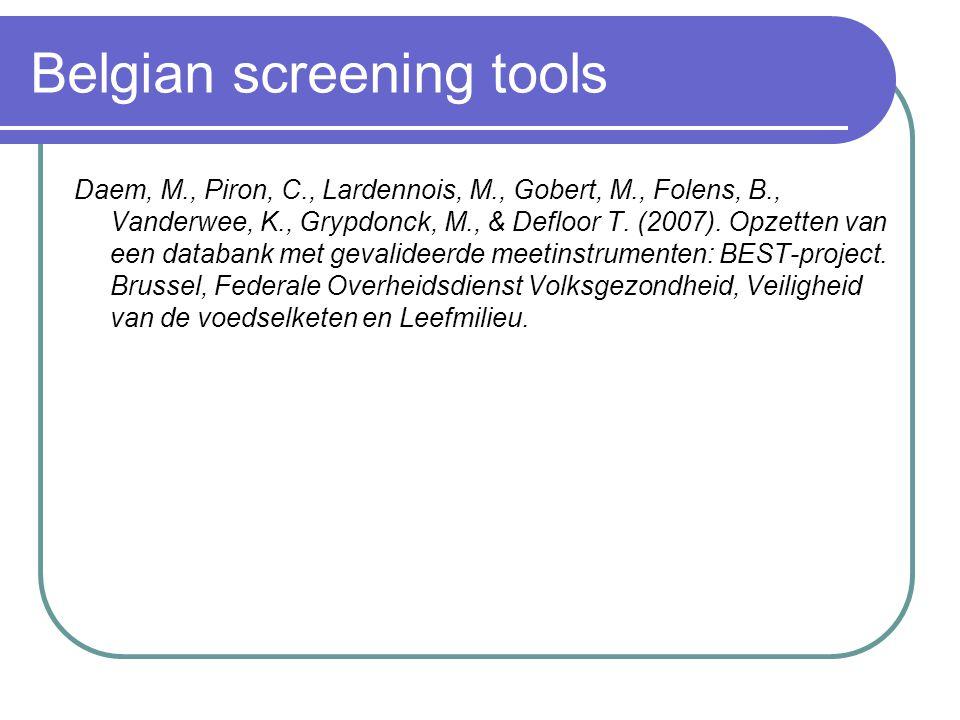 Belgian screening tools