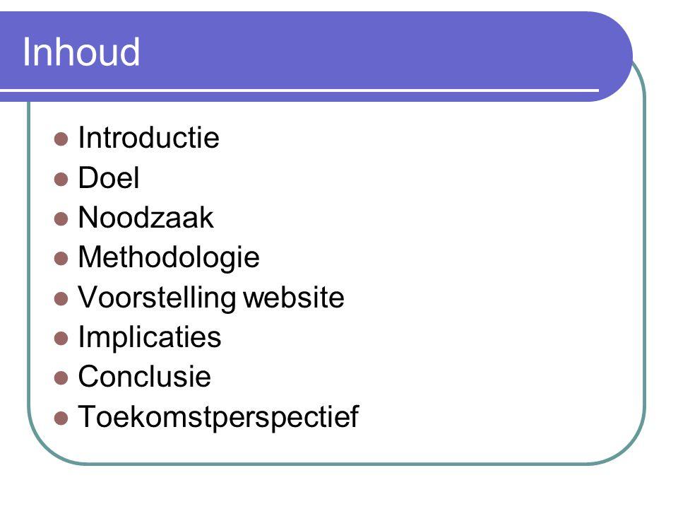Inhoud Introductie Doel Noodzaak Methodologie Voorstelling website
