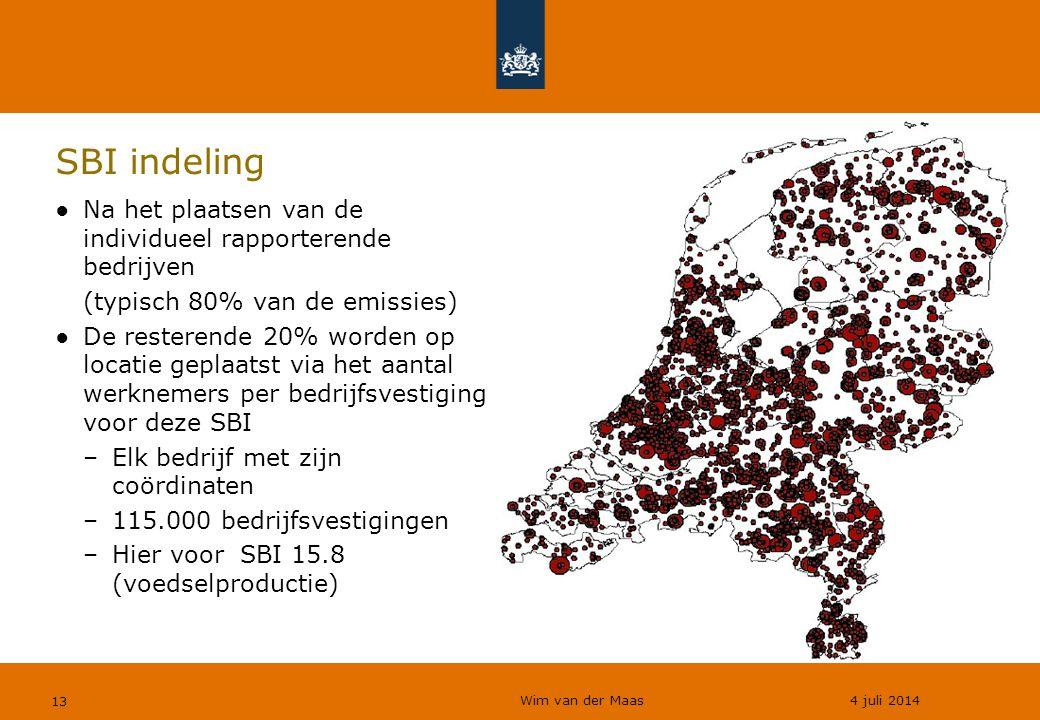 SBI indeling Na het plaatsen van de individueel rapporterende bedrijven. (typisch 80% van de emissies)