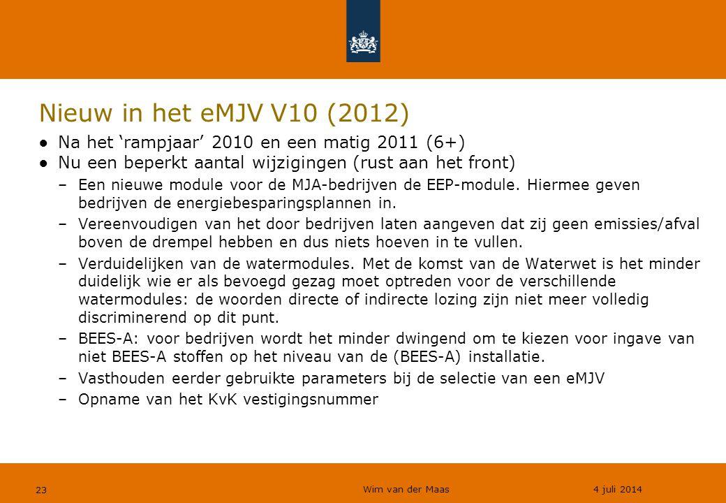 Nieuw in het eMJV V10 (2012) Na het 'rampjaar' 2010 en een matig 2011 (6+) Nu een beperkt aantal wijzigingen (rust aan het front)