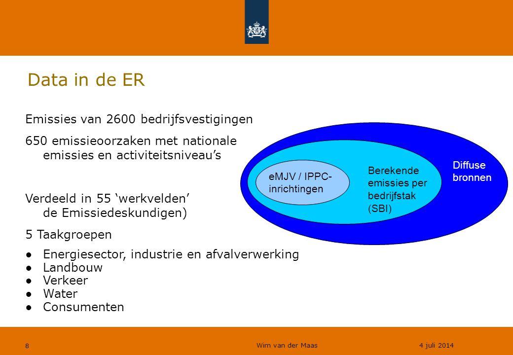 Data in de ER Emissies van 2600 bedrijfsvestigingen