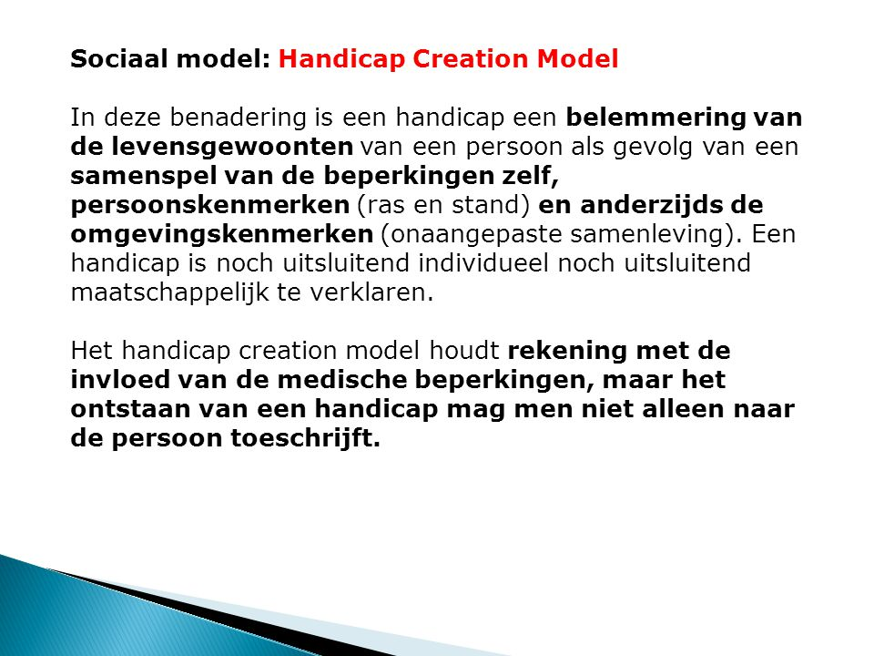 Sociaal model: Handicap Creation Model