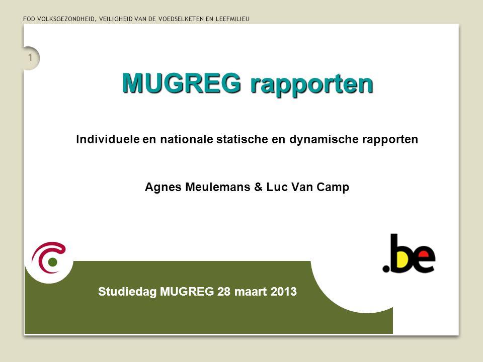 MUGREG rapporten Individuele en nationale statische en dynamische rapporten. Agnes Meulemans & Luc Van Camp.