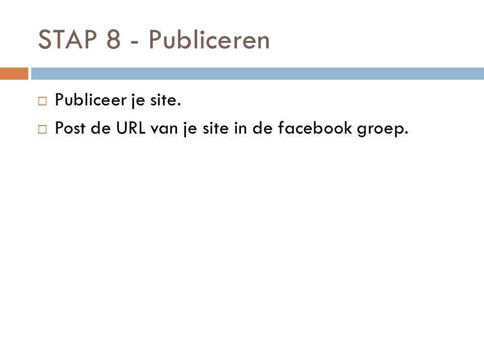 STAP 8 - Publiceren Publiceer je site.