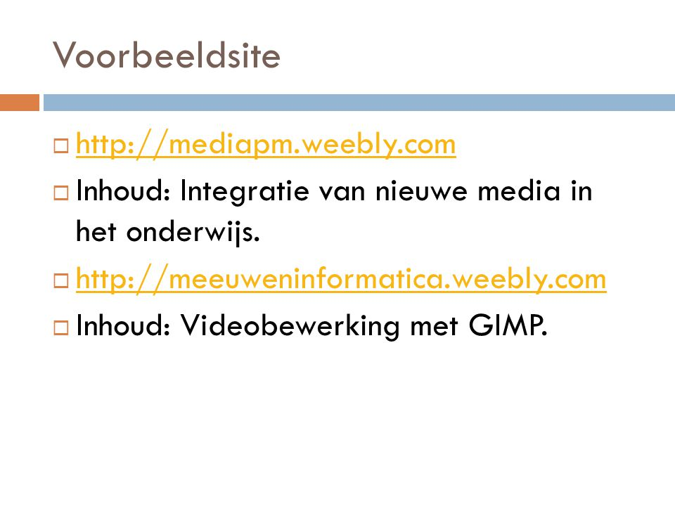 Voorbeeldsite http://mediapm.weebly.com