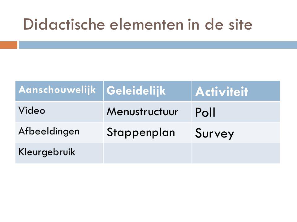 Didactische elementen in de site
