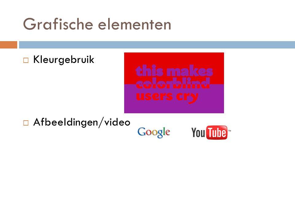 Grafische elementen Kleurgebruik Afbeeldingen/video