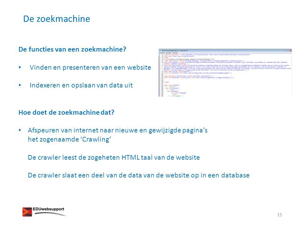 De zoekmachine De functies van een zoekmachine