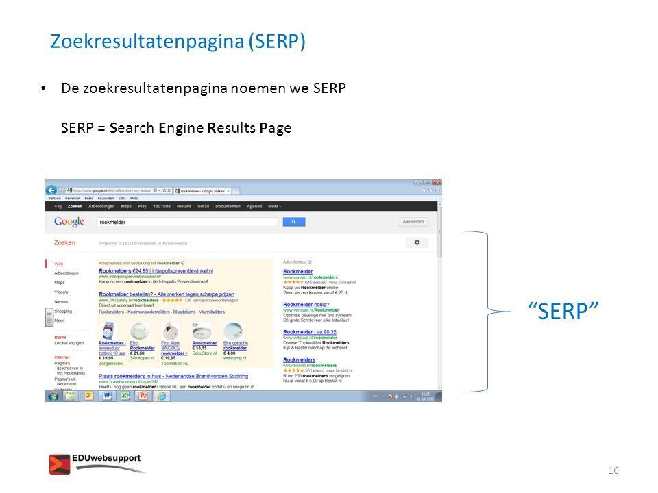 SERP Zoekresultatenpagina (SERP)