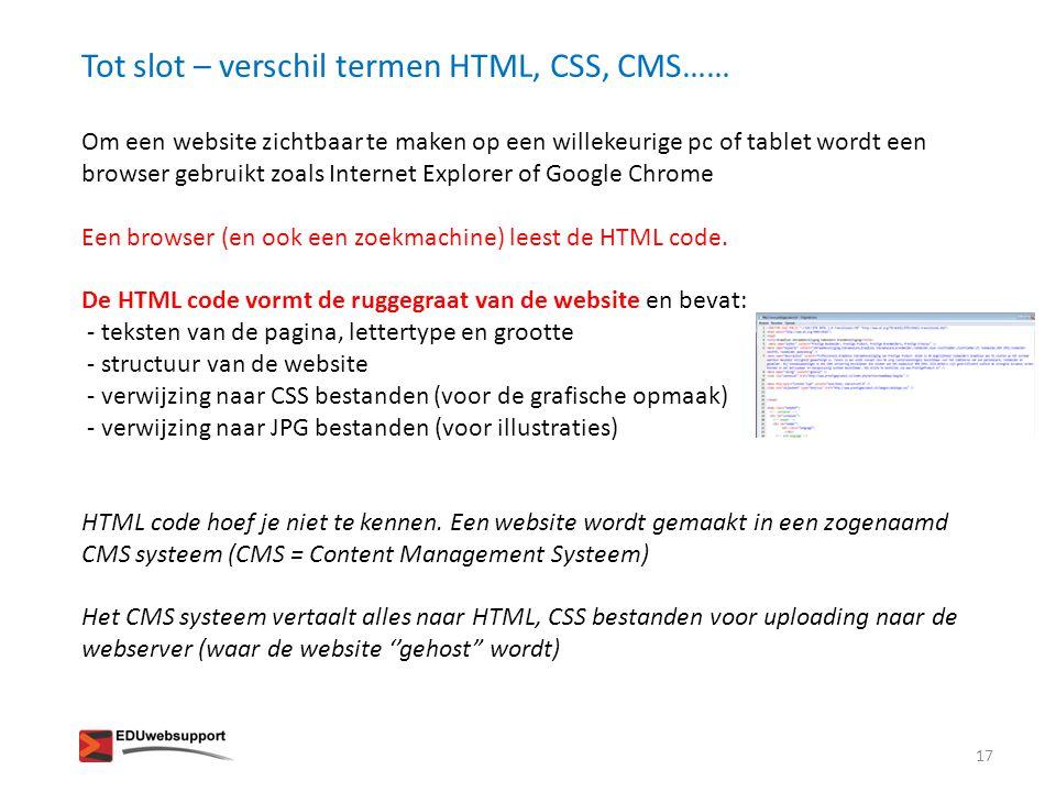 Tot slot – verschil termen HTML, CSS, CMS……