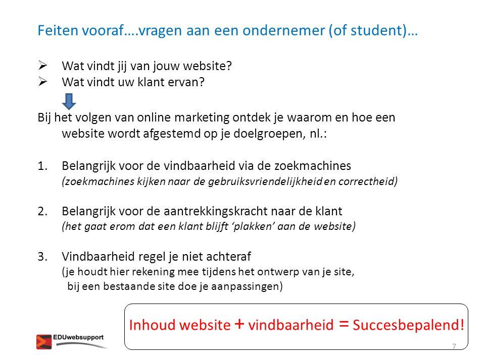 Feiten vooraf….vragen aan een ondernemer (of student)…