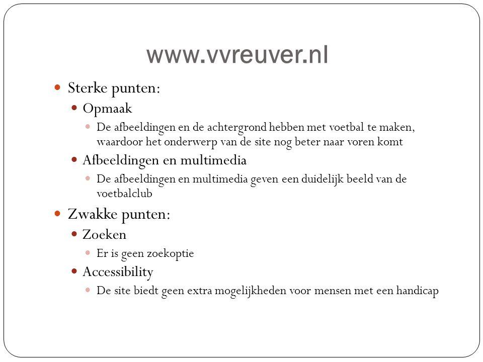 www.vvreuver.nl Sterke punten: Zwakke punten: Opmaak
