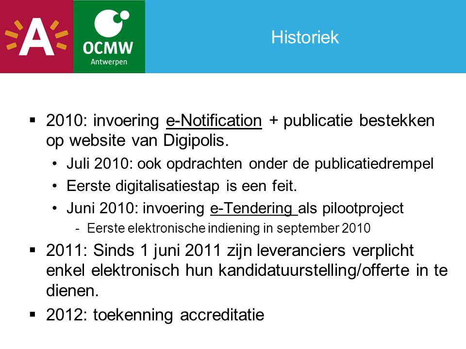 Historiek 2010: invoering e-Notification + publicatie bestekken op website van Digipolis. Juli 2010: ook opdrachten onder de publicatiedrempel.
