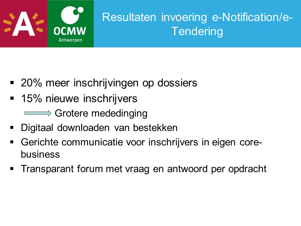 Resultaten invoering e-Notification/e-Tendering