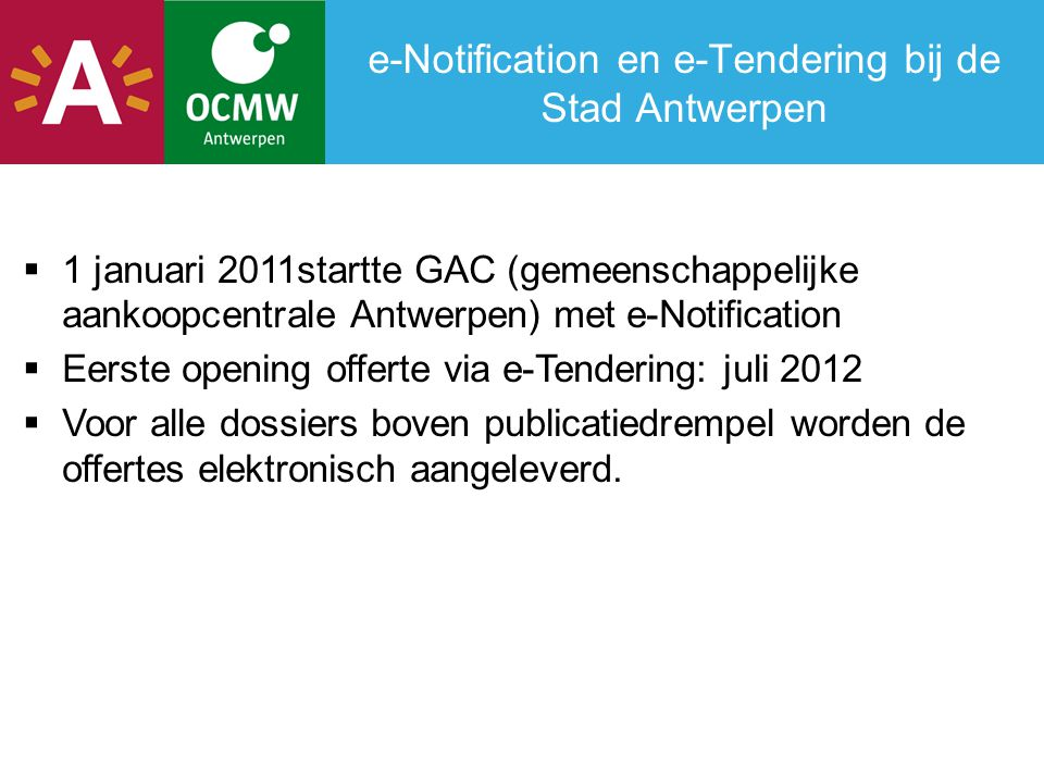 e-Notification en e-Tendering bij de Stad Antwerpen
