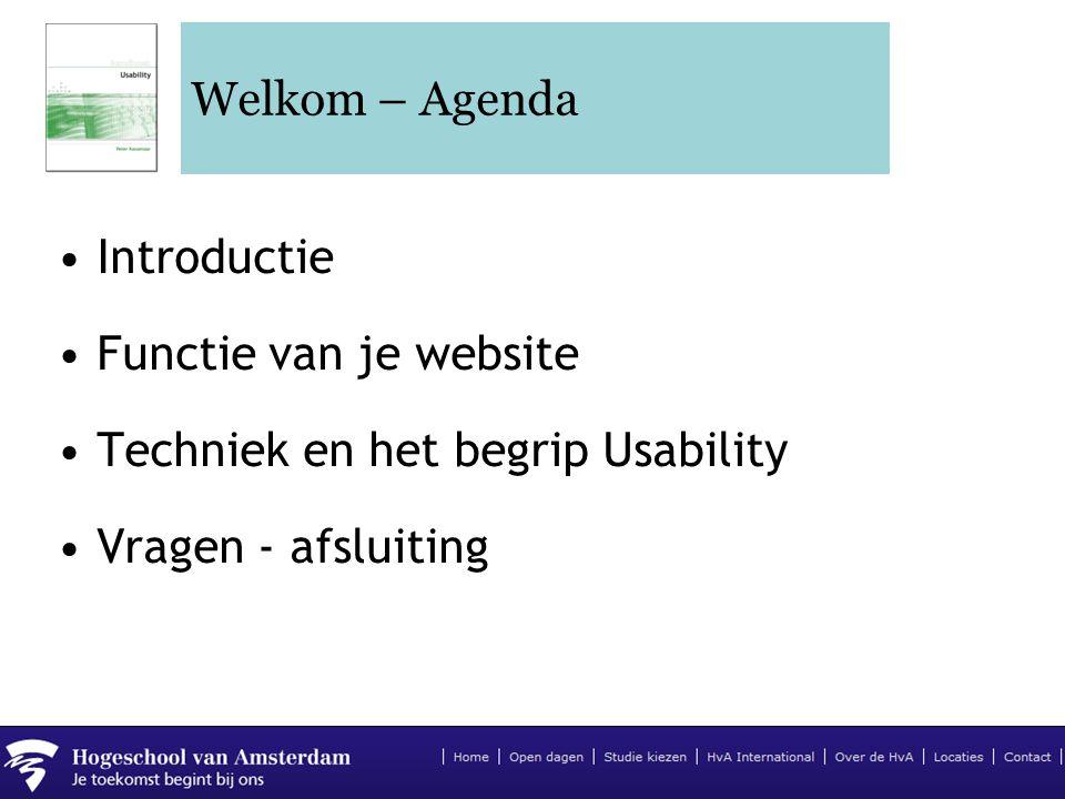 Welkom – Agenda Introductie. Functie van je website.