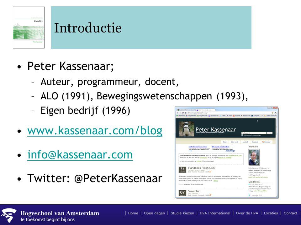 Introductie Peter Kassenaar; www.kassenaar.com/blog info@kassenaar.com