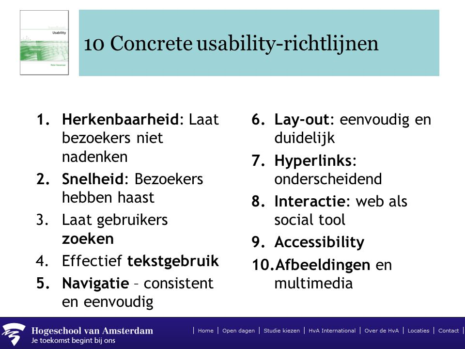10 Concrete usability-richtlijnen
