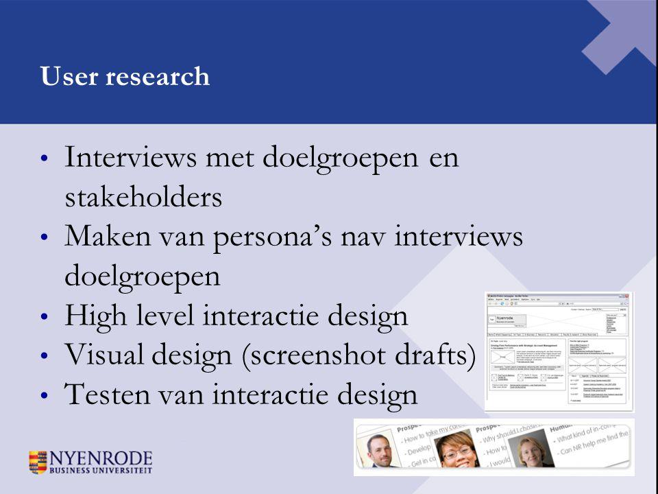Interviews met doelgroepen en stakeholders
