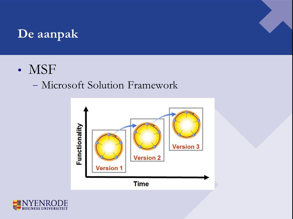 De aanpak MSF Microsoft Solution Framework